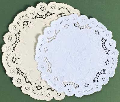 Round White Pale Yellow Princess Paper Lace Doilies