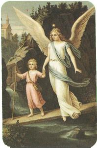 Guardian Angel & Child on Bridge Verse Card